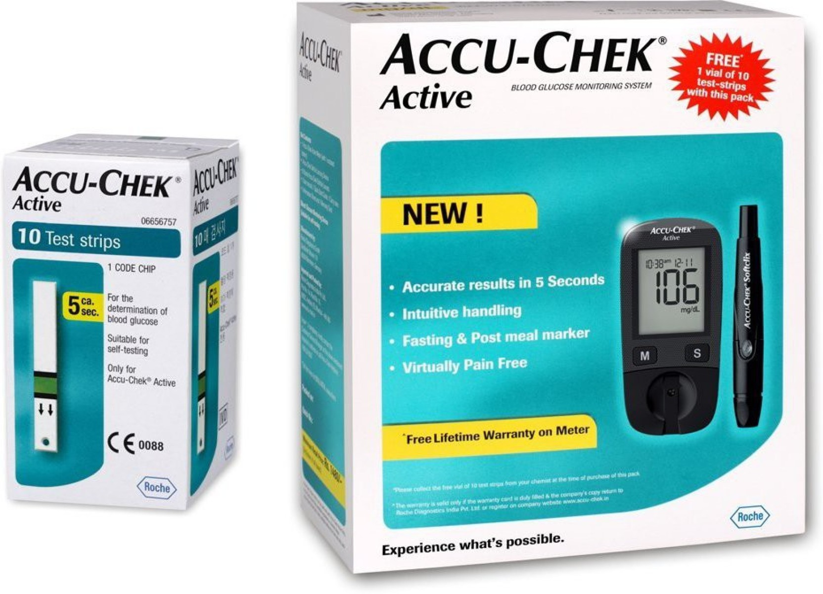 ACCU-CHEK ACTIVE BLOOD GLUCOSE METER WITH 10 STRIPS
